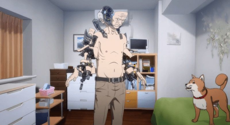 Inuyashiki - The Last Hero - old man cyborg open