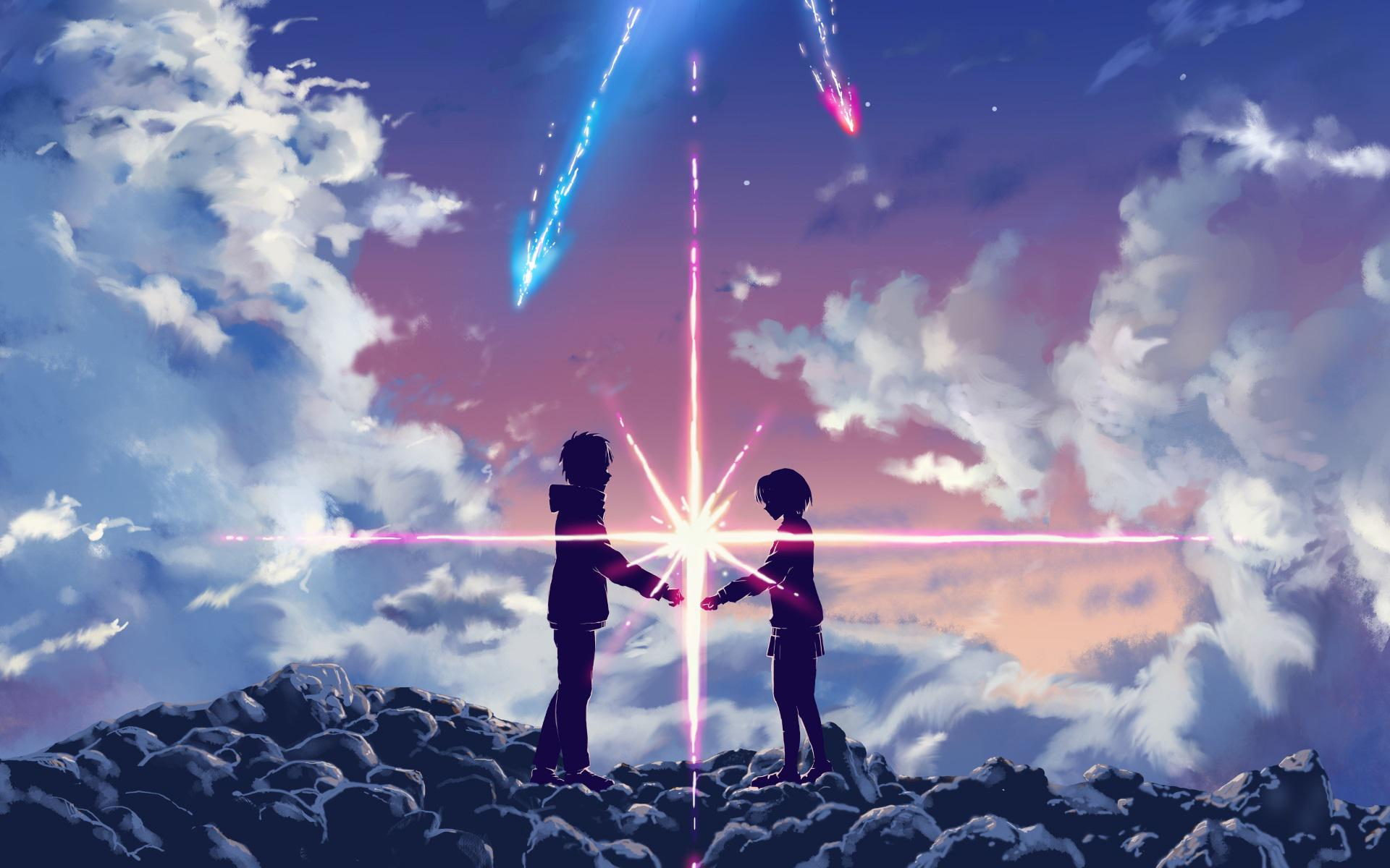 Film Cartoon - Your Name - Kimi no Na wa (love anime story) - Taki e Mitsuha - kataware doki - afternoon - tramonto - sunset