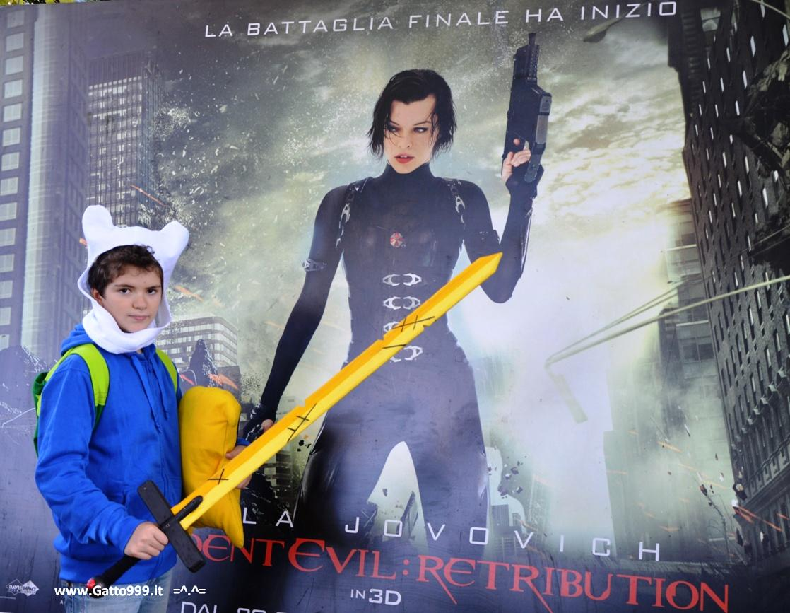 Resident Evil Retribution con Milla Jovovich ... e Finn di Adventure Time