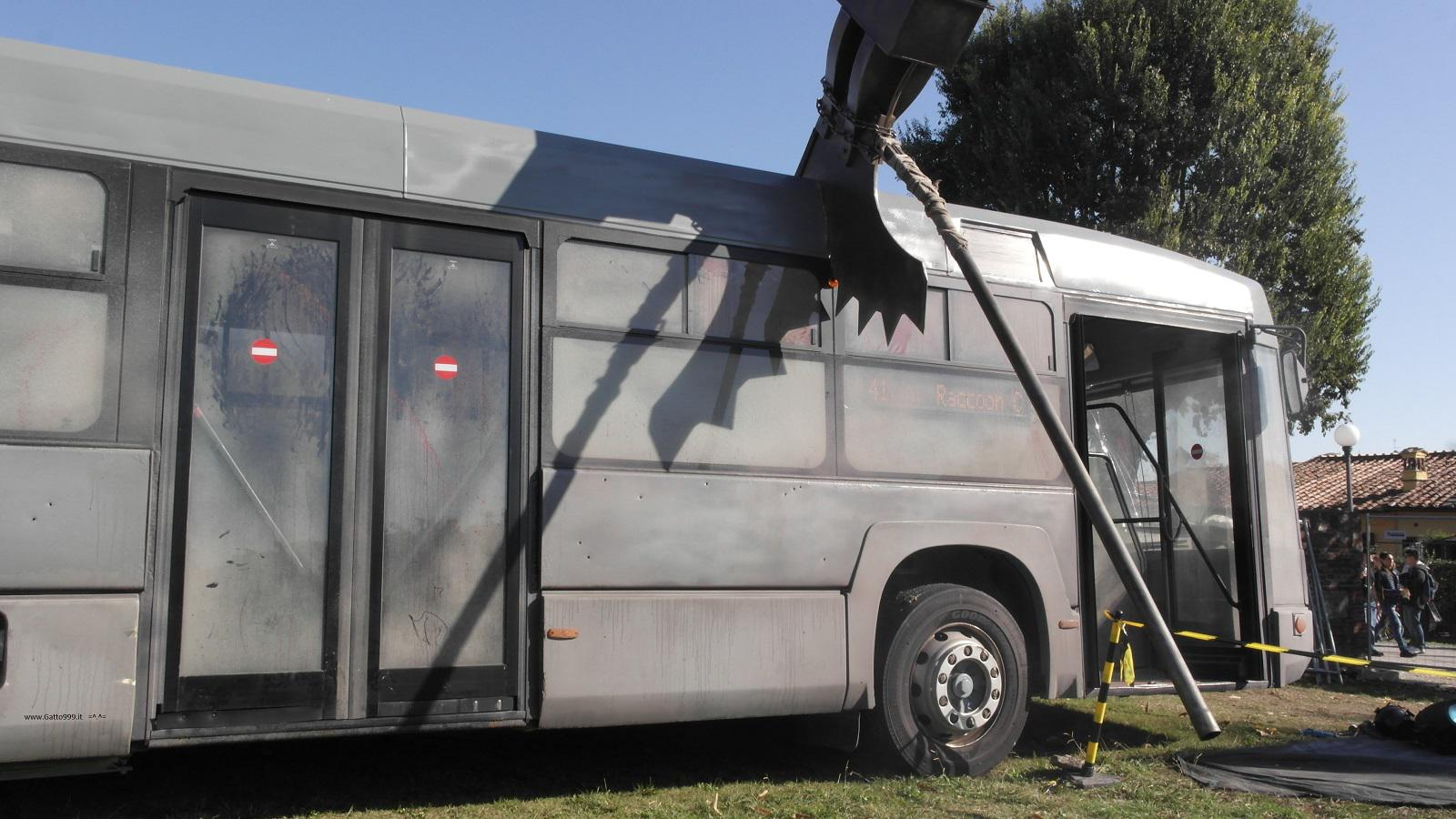 Lucca Comics and Games 2015 - autobus bus destroyed by Resident Evil monster hammer
