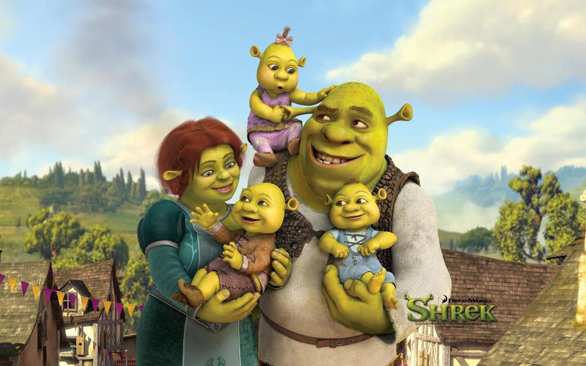 Shrek 3 e Fiona e mini Shreks