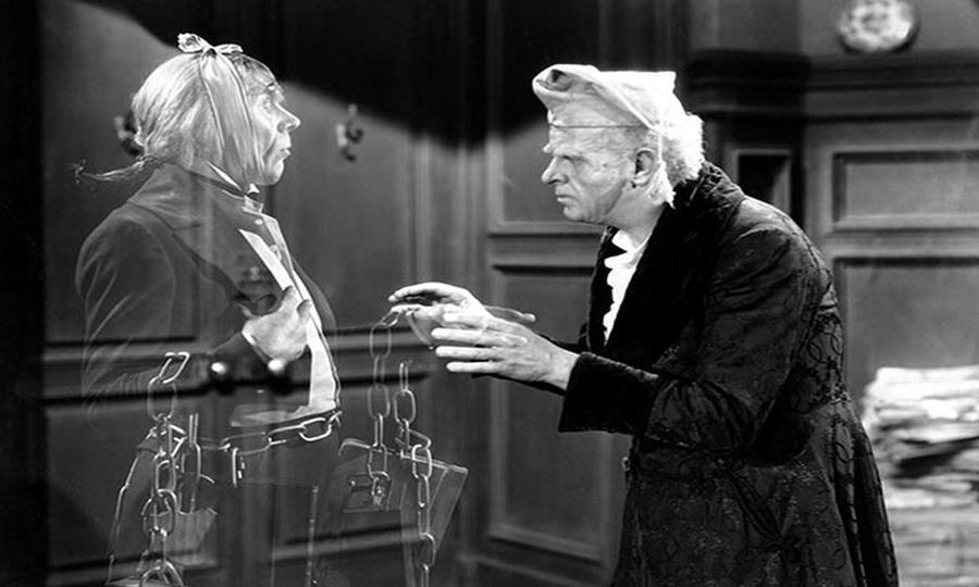 A Christmas Carol (1938) Ebenezer Scrooge and the ghost