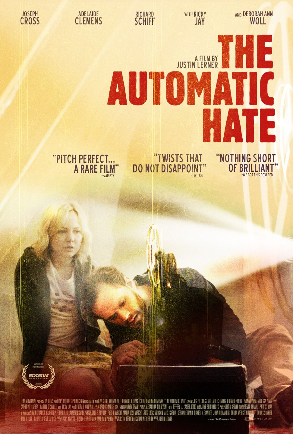 Automatic Hate by Justin Lerner - Cast: Joseph Cross, Adelaide Clemens film poster 2016