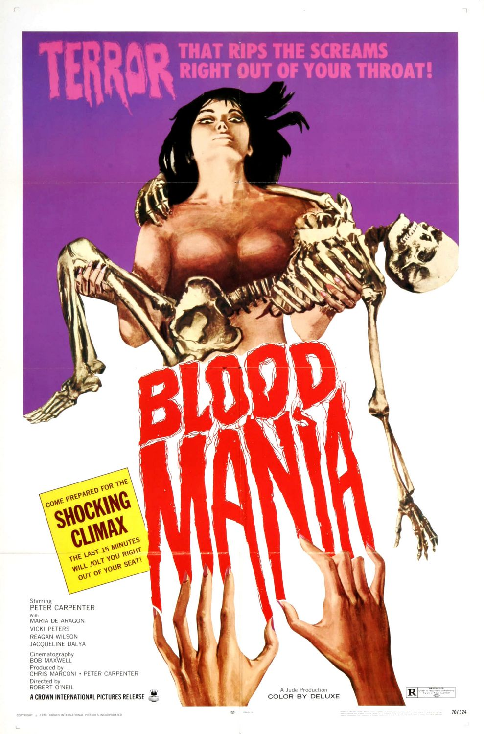 Blood Mania (1970) - Cast: Peter Carpenter, Maria De Aragon, Vicki Peters, Reagan Wilson - horror film poster 70s