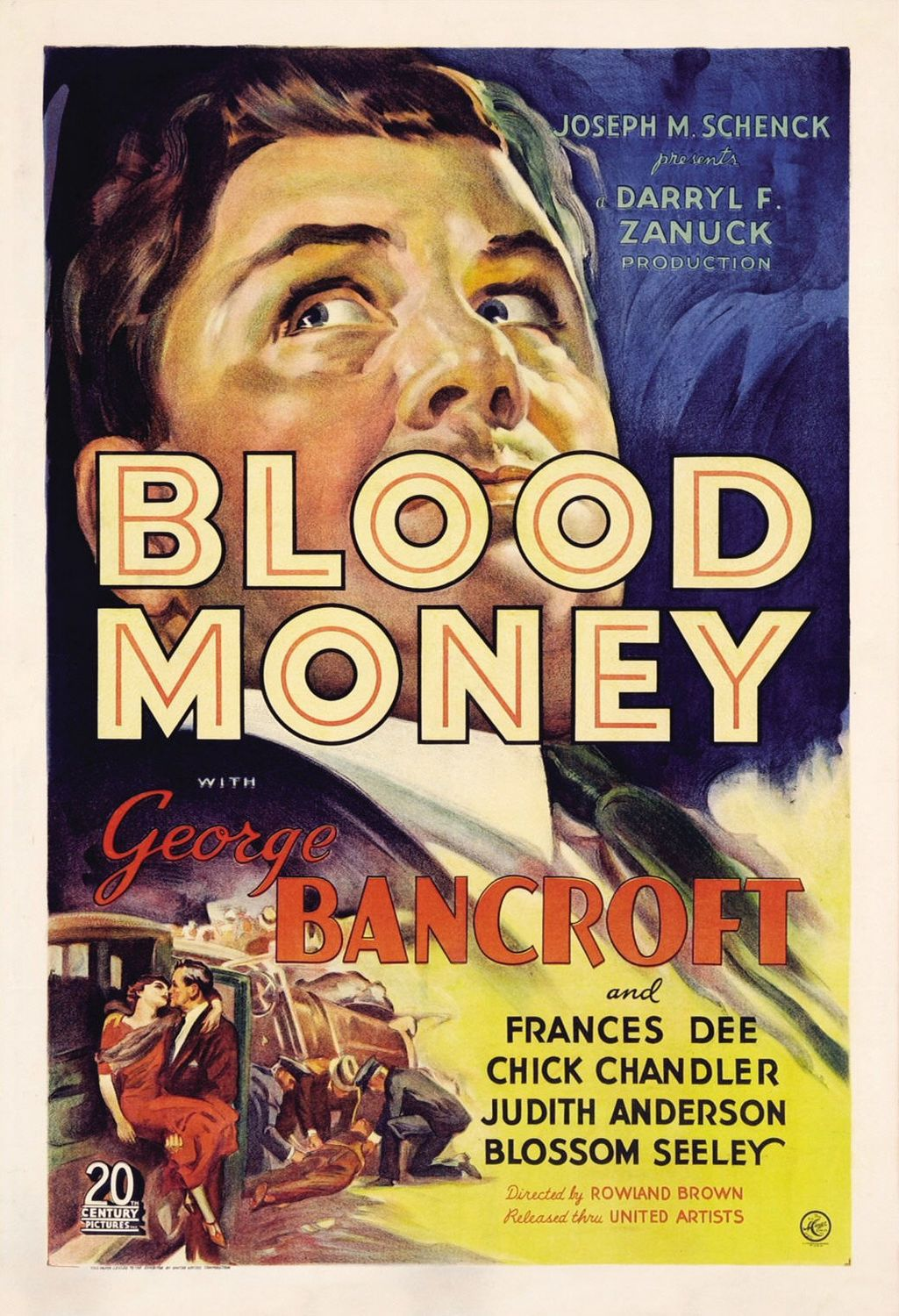 Blood Money (1933) - Cast: George Bancroft, Judith Anderson, Frances Dee, Chick Chandler - classic cult film poster 30s