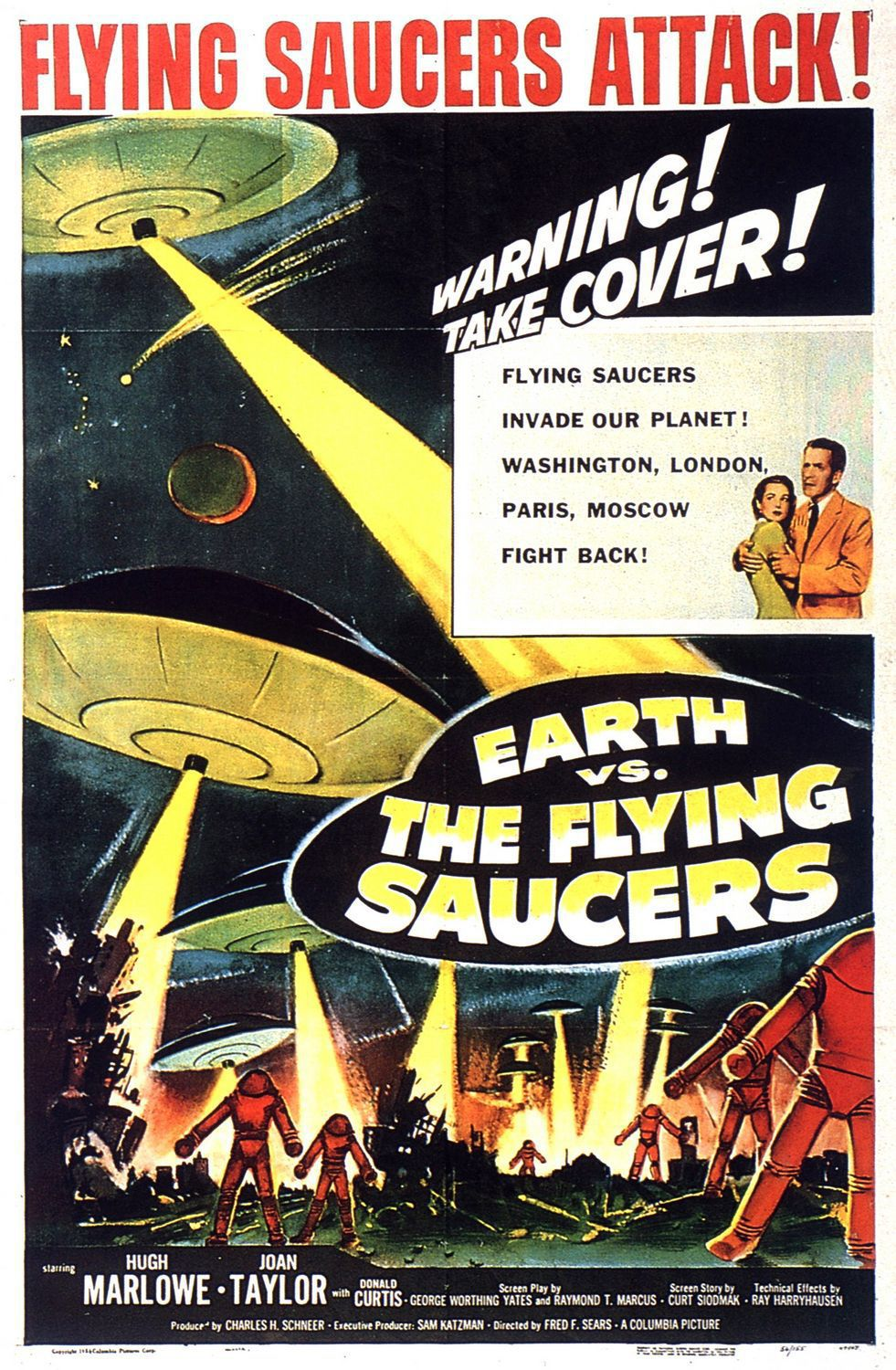 Earth vs the Flying Saucers (1956) - classic cult scifi fantascienza film poster