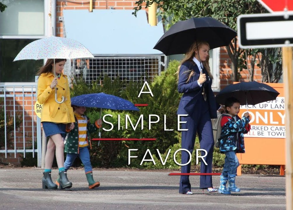 A Simple Favor (2018) - scene walking with kids and umbrelas