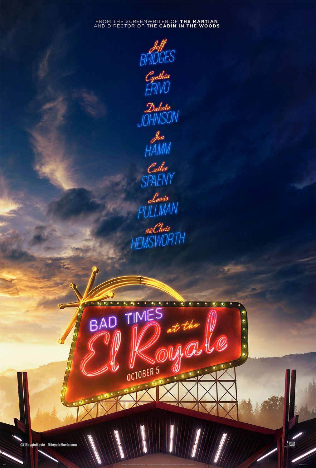 Bad Times at the El Royale (2018) Cast: Jeff Bridges, Chris Hemsworth, Cynthia Erivo, Dakota Johnson, John Hamm, Cailer Spaeny, Lewis Pullman, Nick Offerman - film poster