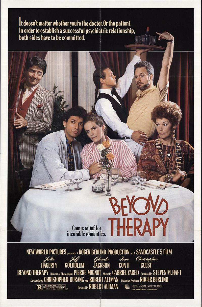 Beyond Therapy (1987) - Cast: Julie Hagerty, Jeff Goldblum, Glenda Jackson, Tom Conti, Christopher Guest - comedy film poster