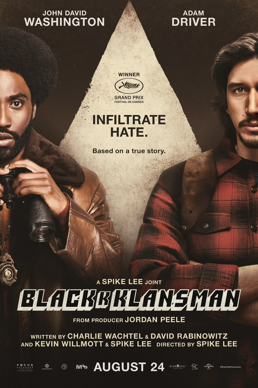 Blackkklansman 2018 by Spike Lee infiltrate hate John David Washington, Adam Driver, Laura Harrier, Topher Grace film poster