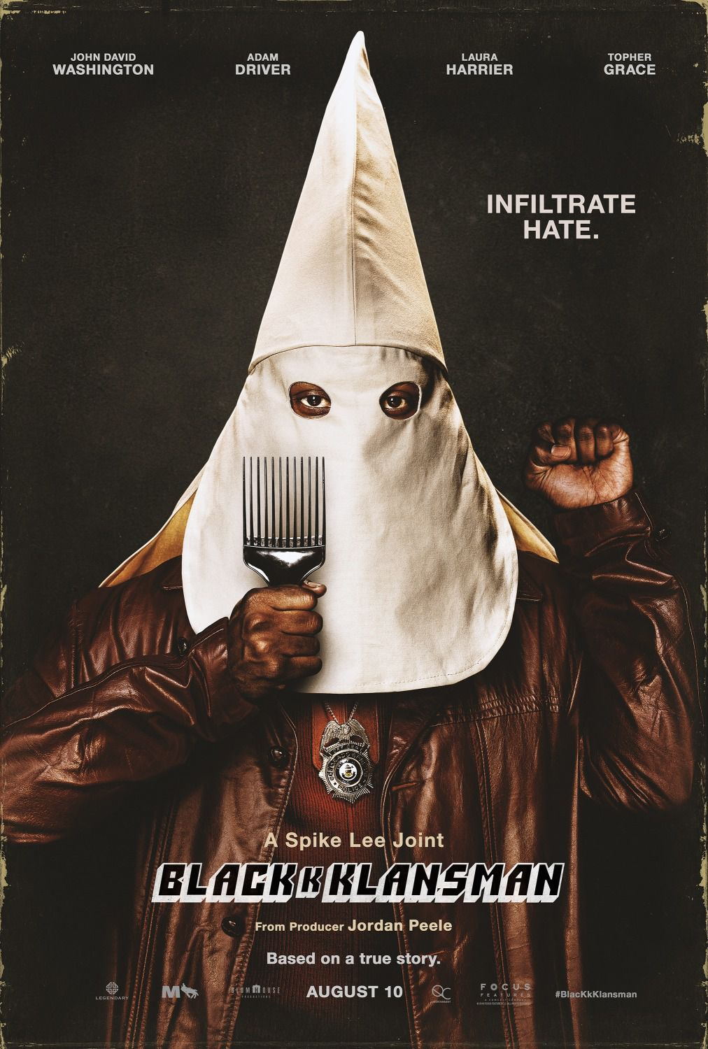 Blackkklansman - Cast: John David Washington, Adam Driver, Laura Harrier, Topher Grace film poster 2018