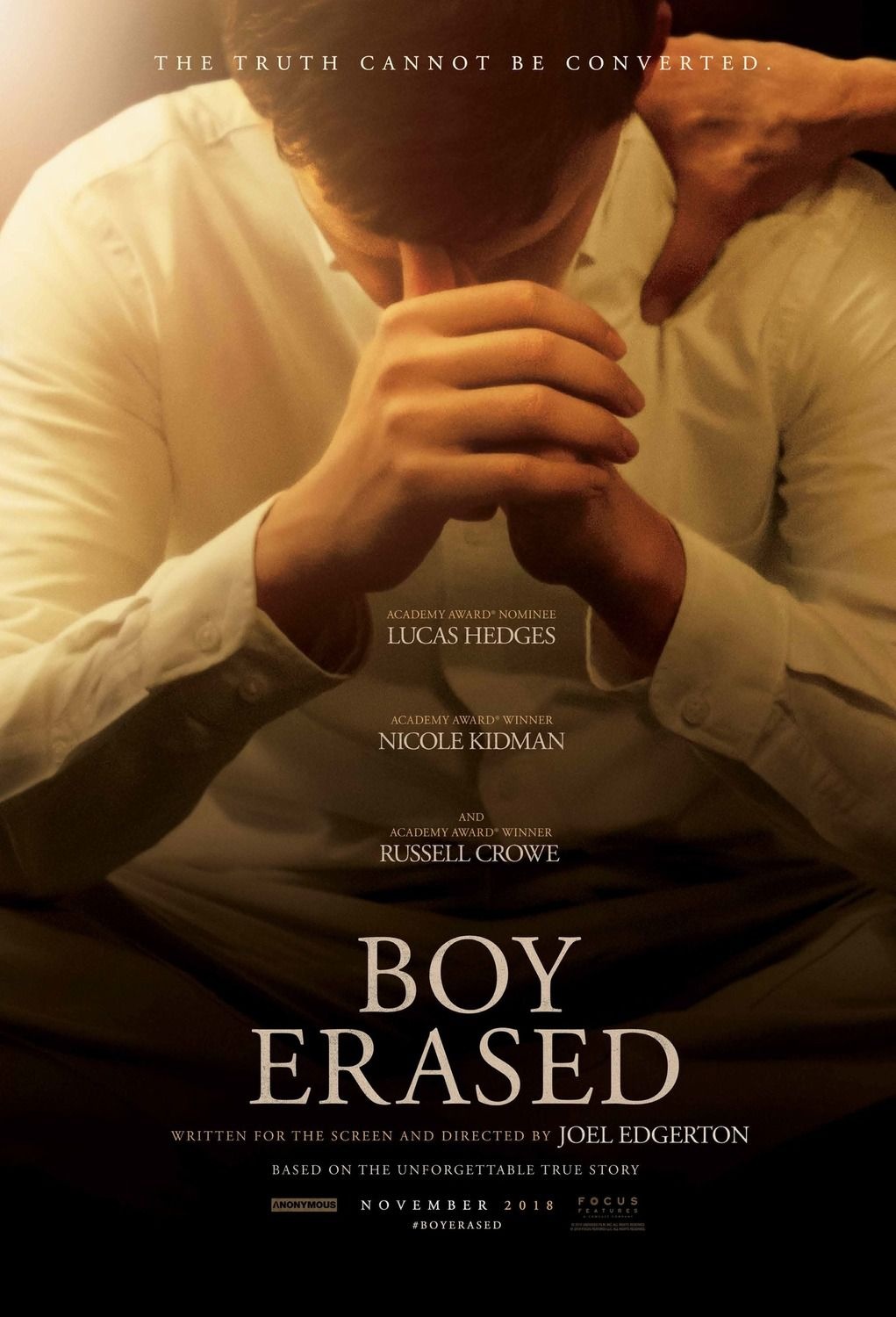 Boy Erased (2018) The truth cannot be converted - Cast: Lucas Hedges, Nicole Kidman, Russell Crowe film poster