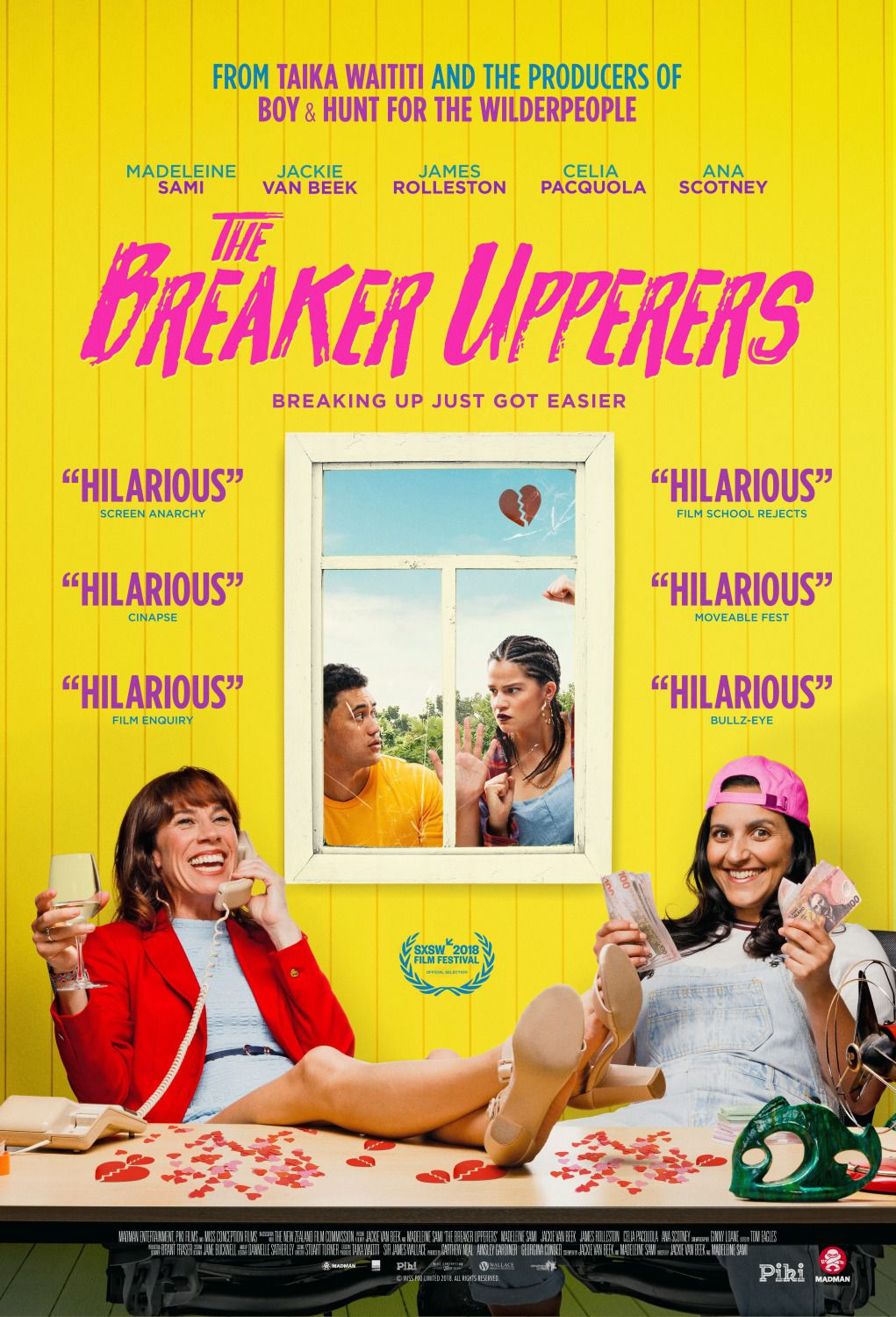 Breaker Upperers - Breaking up just got easier - Cast: Madeleine Sami, Jackie Van Beek, James Rolleston, Celia Pacquola, Ana Scotney - film poster