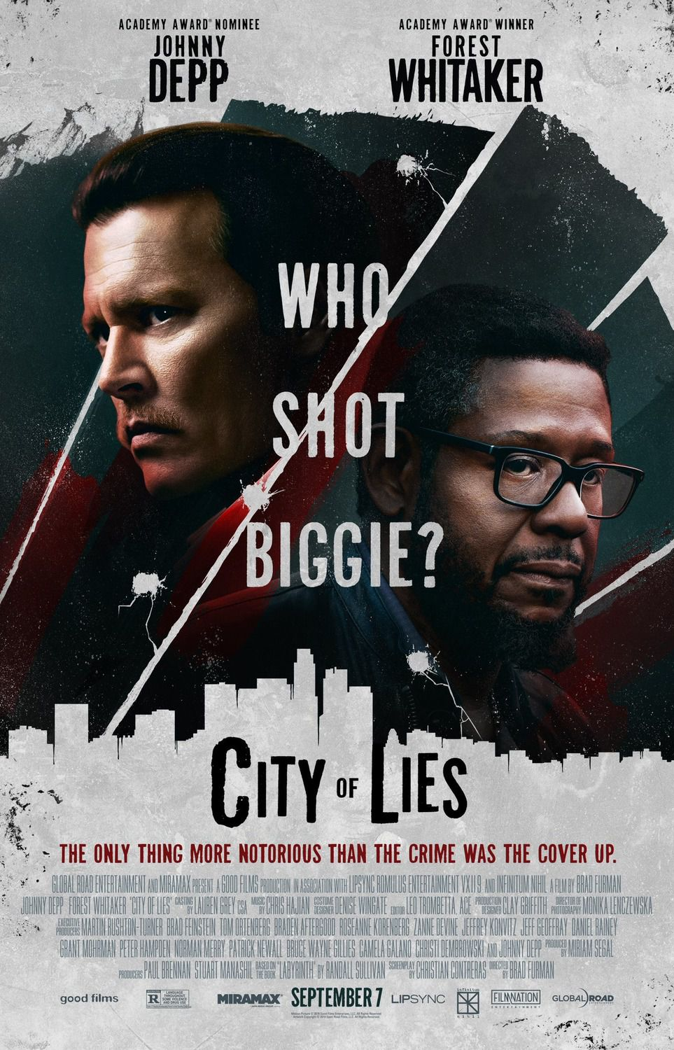 City of Lies - who shot biggie - Cast: Johnny Depp, Forest Whitaker, Toby Huss, Dayton Callie - film poster