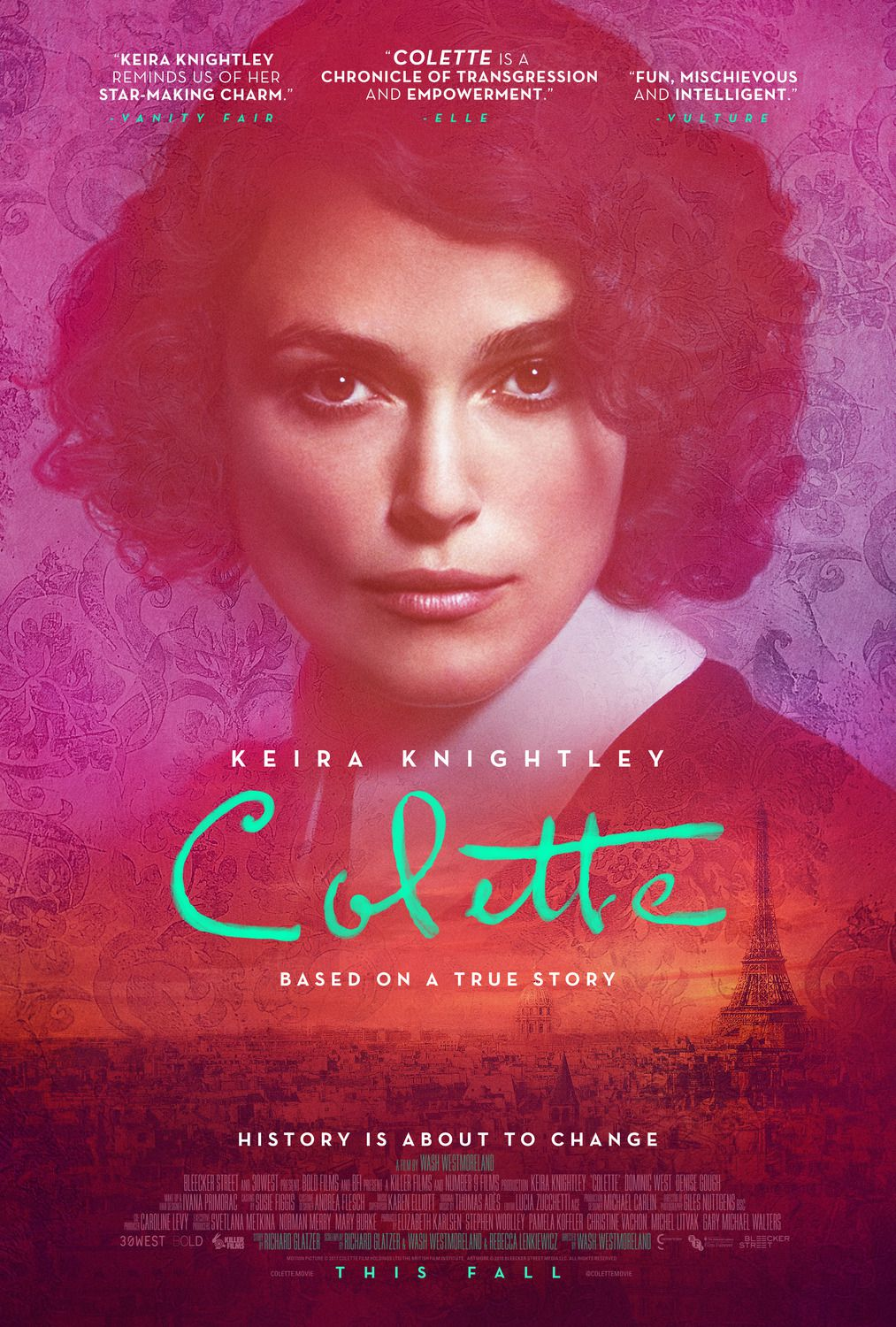 Colette (2018) - Cast: Keira Knightley, Dominic West, Fiona Shaw, Denise Gough - film poster