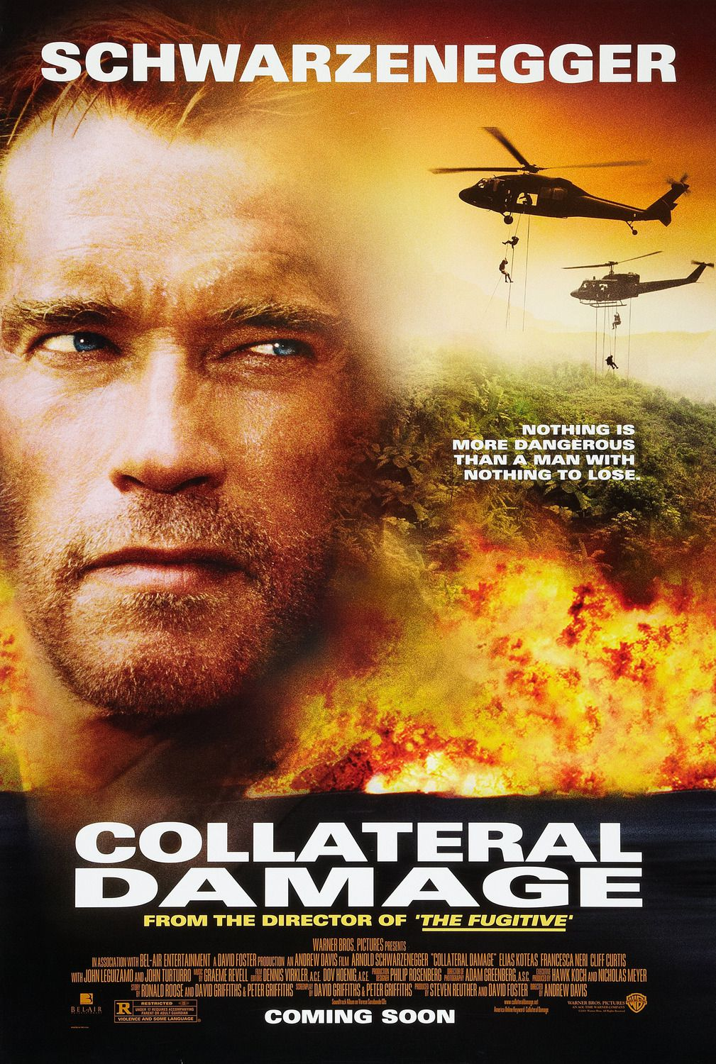 Collateral Damage (2002) - Cast: Arnold Schwarzenegger, Francesca Neri, Elias Koteas, Cliff Curtis - action film poster