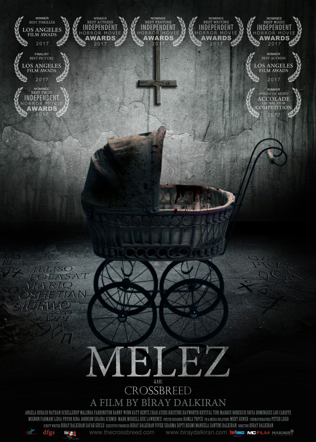 Crossbreed - Melez the Crossbreed by Biray Dalkiran - Cast: Angela Durazo is Amy, Chad Ayers is Steihen, Danny Winn is Paul, Katy Bentz is Rose, Malinda Farrington is Maria, Nathan Schellerup is John - horror film poster 2018 - passeggino - stroller