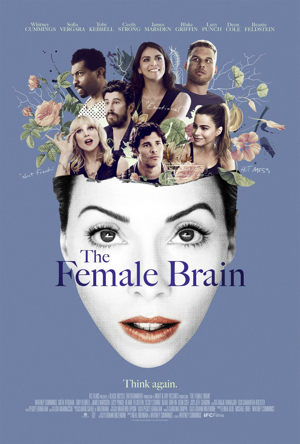 Female Brain - Whitney Cummings, Sofia Vergara, Toby Kebbell, Cecily Strong, James Marsden, Blake Griffin, Lucy Punch, Deon Cole, Beanie Feldstein - poster 2018
