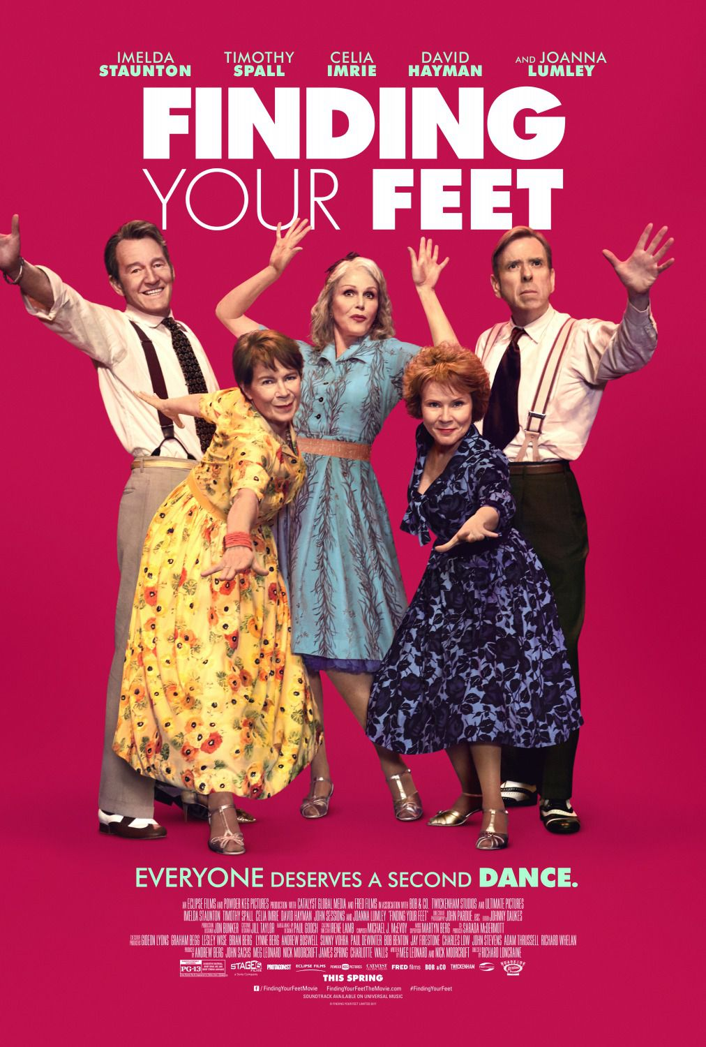 Finding Your Feet - Imelda Staunton, Timothy Spall, Celia Imrie, David Hayman, Joanna Lumley - Everyone deserves a second dance - film poster
