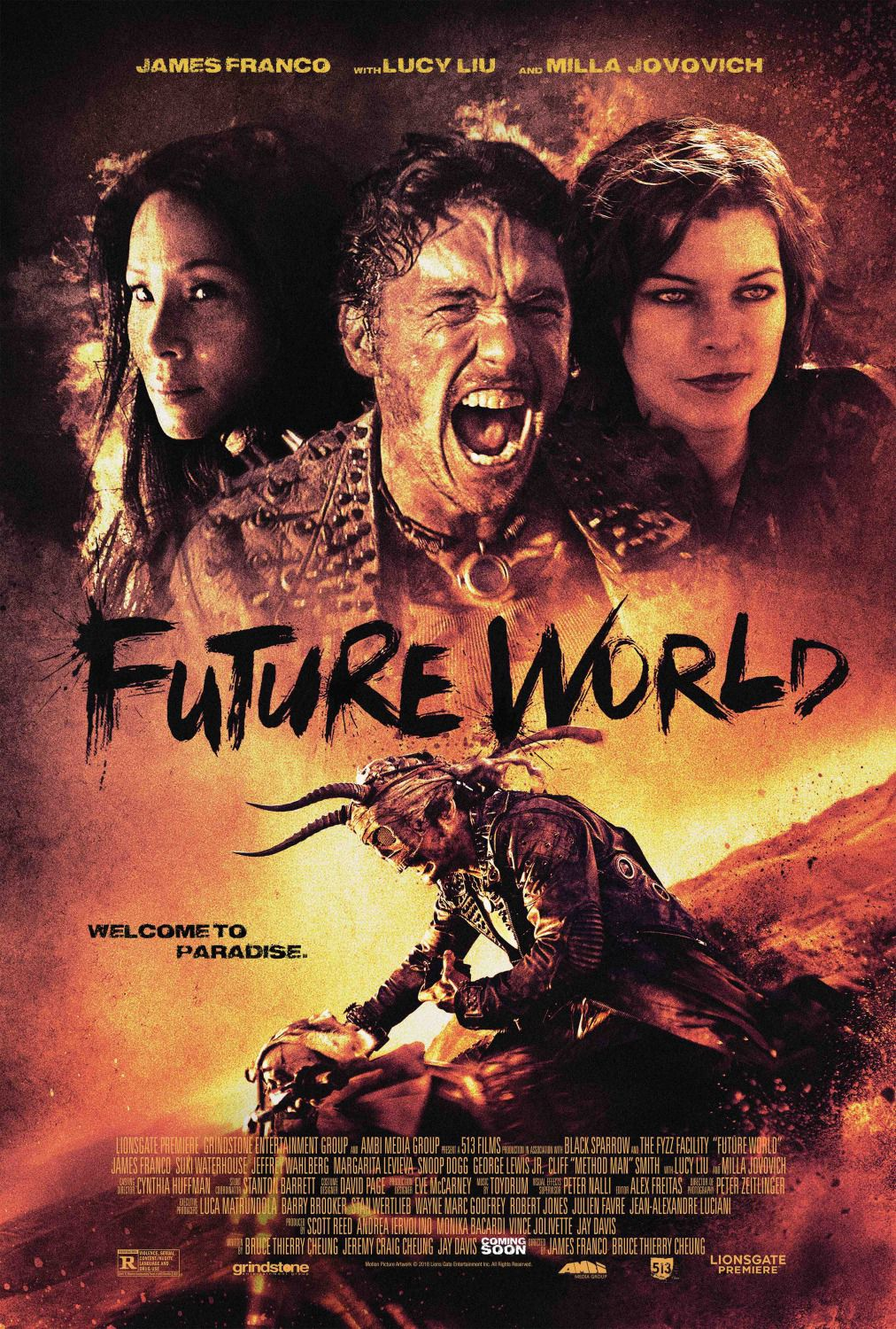 Future World - welcome to Paradise - Cast: James Franco, Suki Waterhouse, Milla Jovovich, Lucy Liu - poster 2018