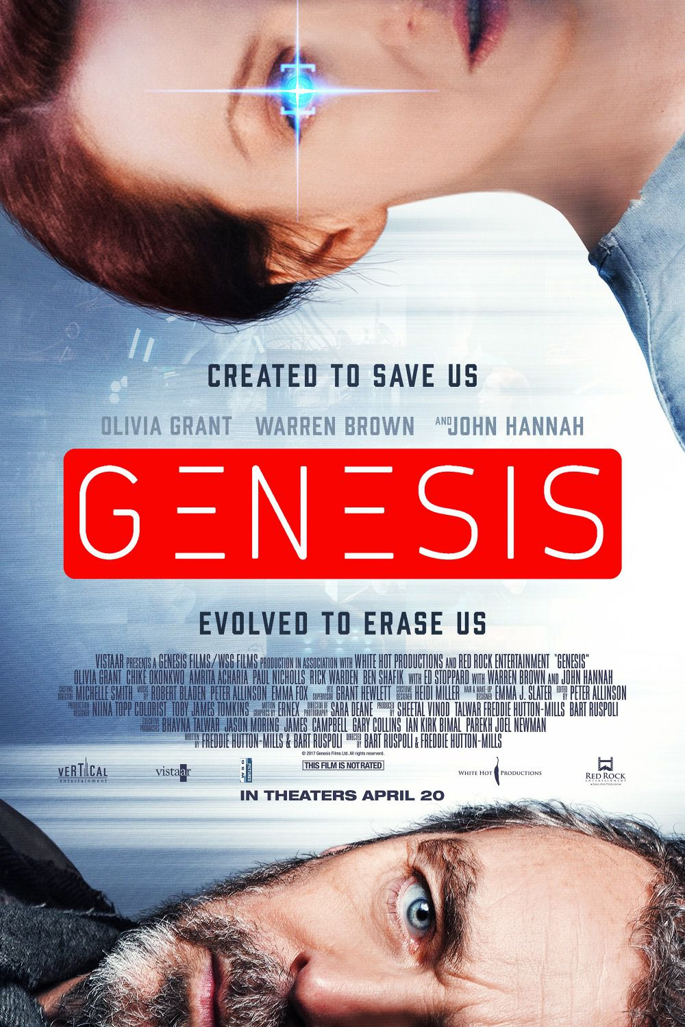 Genesis - Created to save us. Evolved to erase us - Cast: Olivia Grant, Warren Brown, John Hannah - AI Robot scifi film poster