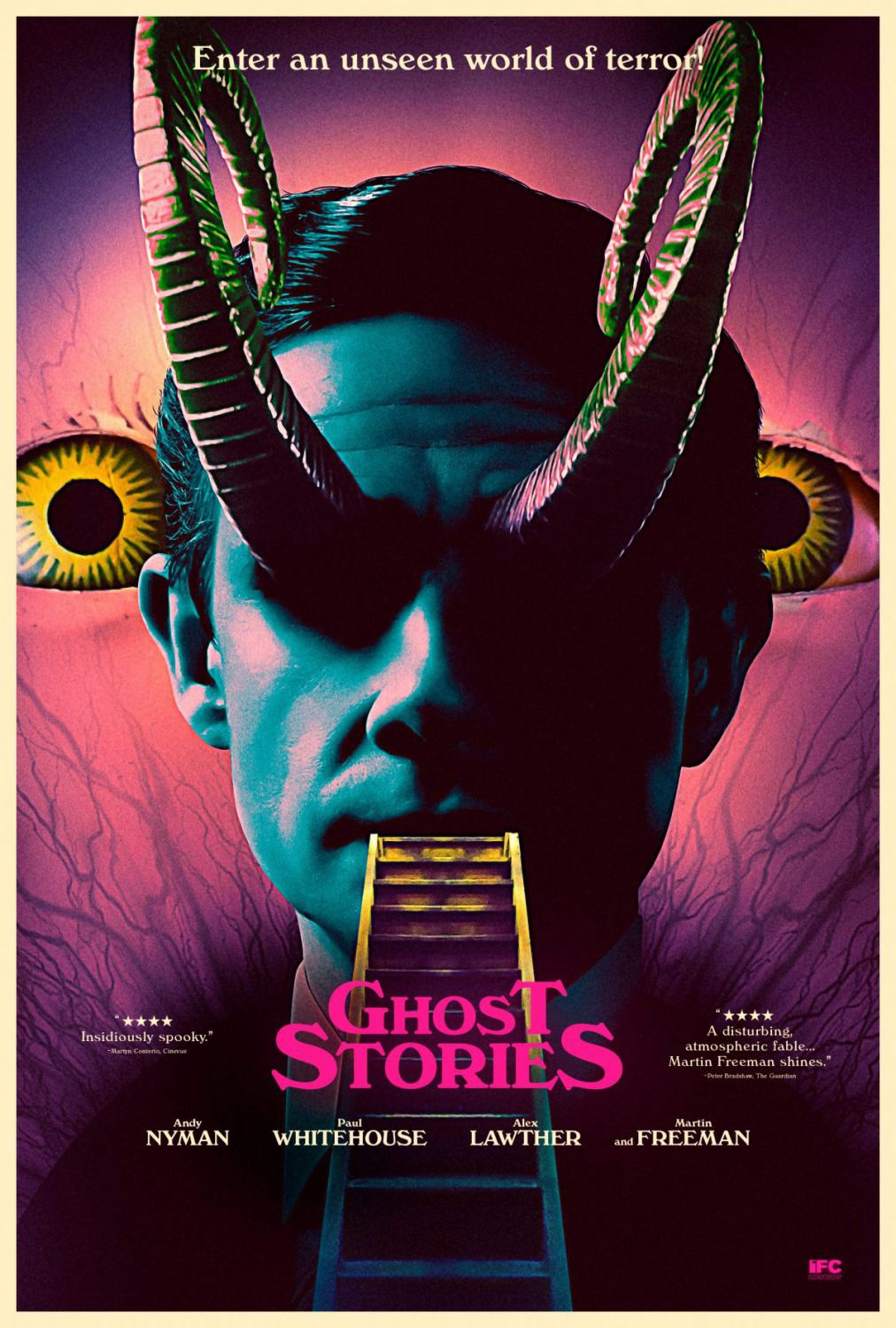 Ghost Stories - 2018 - Enter an unseen world of terror - horror film poster - horns - corna