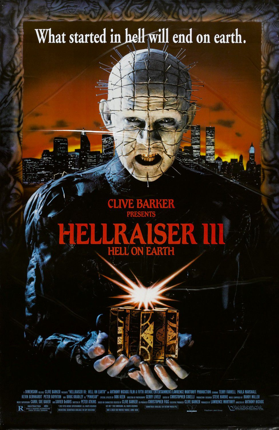 Hellraiser 3 Hell on Earth (1992) - horror film poster
