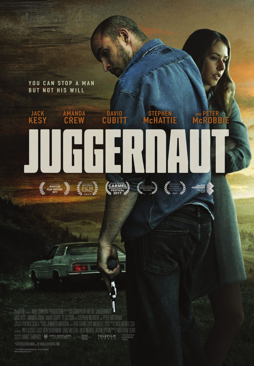 Juggernaut - can stop a man but not his will - Cast: Jack Kesy, Amanda Crew, David Cubitt, Stephen McHattie, Peter McRobbie - film poster 2018