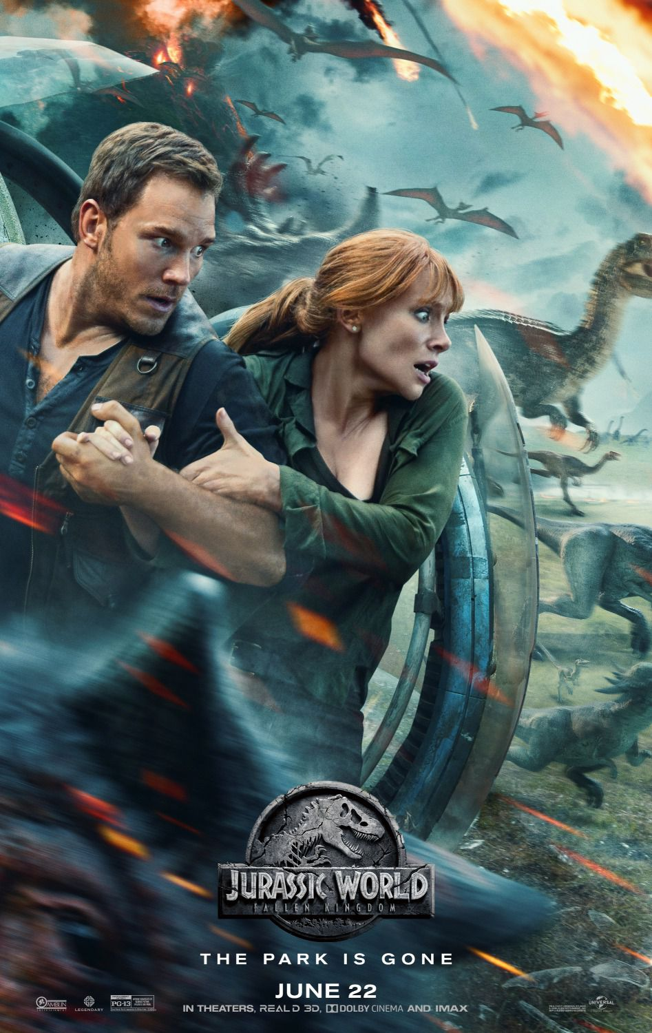 Jurassic World Fallen Kingdom - Chris Pratt, Bryce Dallas Howard, Rafe Spall, Toby Jones - poster 2018