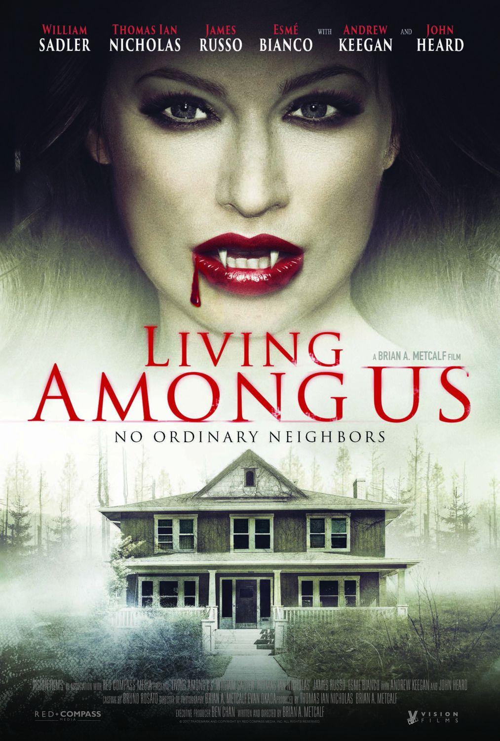 Living Among Us (2018) no ordinary neighbors - vampire horror film poster