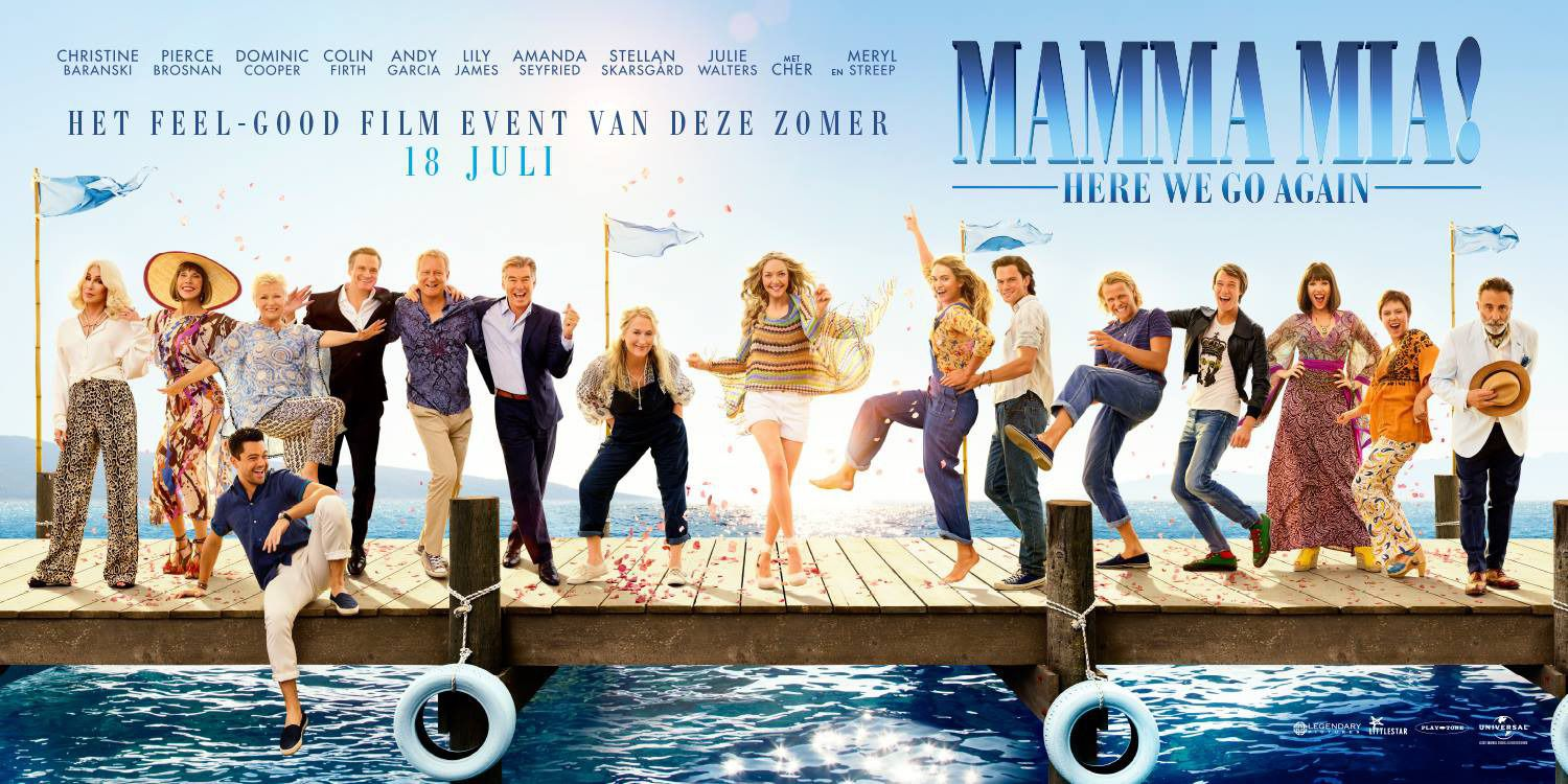 Mamma mia 2 Here we go Again - Meryl Streep, Lily James, Amanda Seyfried, Pierce Brosnan - film poster banner cast 2018