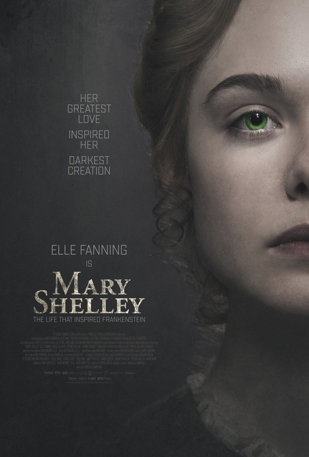 Mary Shelley - Her greatest love inspired her darkest creation - Cast: Elle Fanning, Douglas Booth, Bel Powley, Maisie Williams green eyes poster 2018