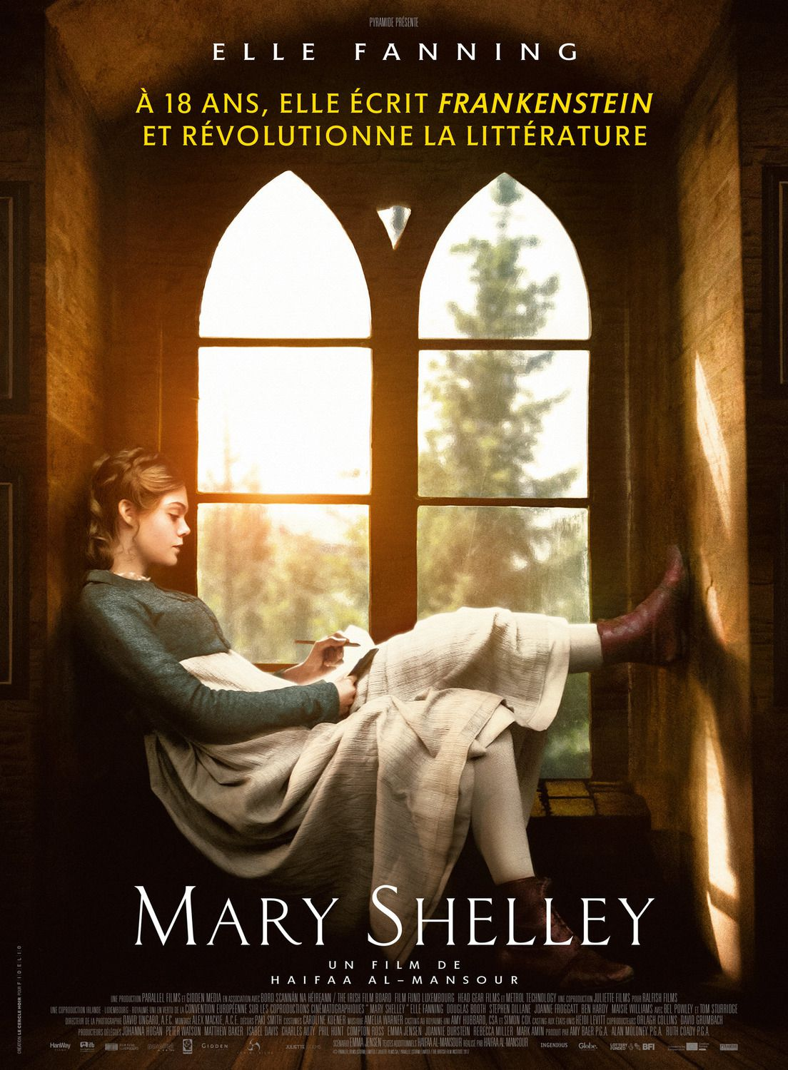 Mary Shelley 2018 Elle Fanning, Douglas Booth, Bel Powley, Maisie Williams - film poster