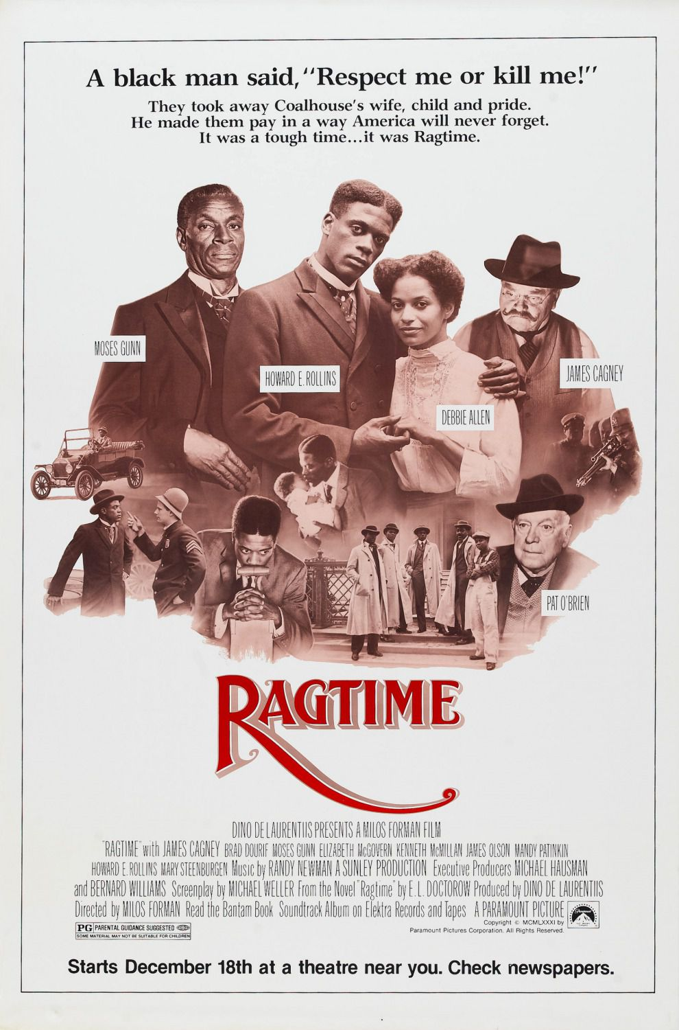 Ragtime (1981) - Cast: James Cagney, Brad Dourif, Moses Gunn, Elizabeth McGovern - film poster 80s