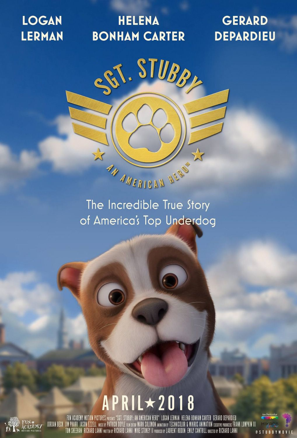 Sgt Stubby an American Hero - animated film poster 2018
