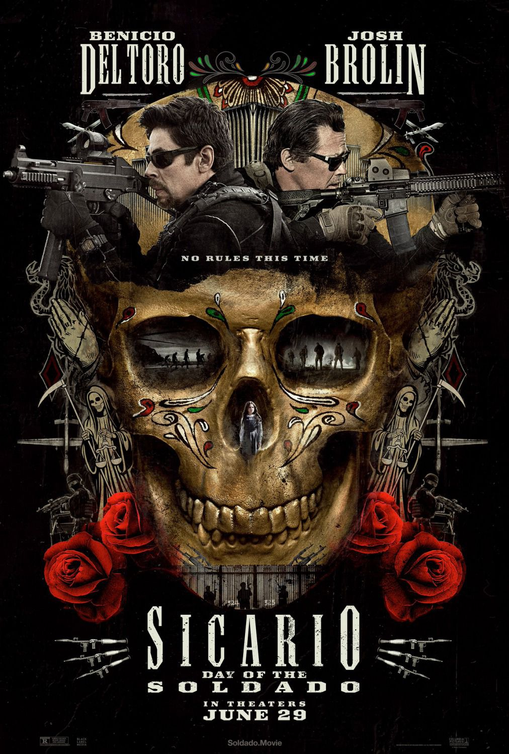 Sicario Day of the Soldado - no rules this time - Cast: Benicio Del Toro, Josh Brolin, Catherine Keener, Christopher Heyerdahl - film poster 2018