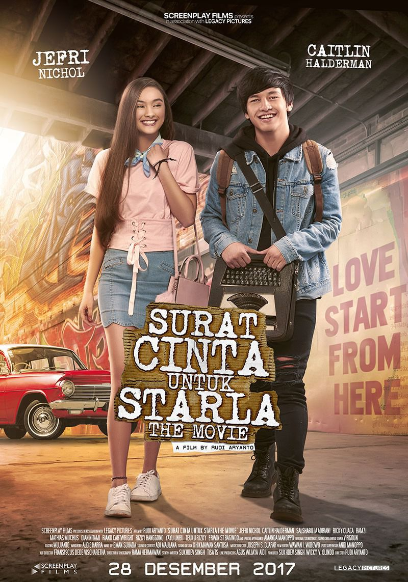 Surat Cinta Untuk Starla the movie - Cast: Jefri Nichol, Caitlin Halderman - love film poster
