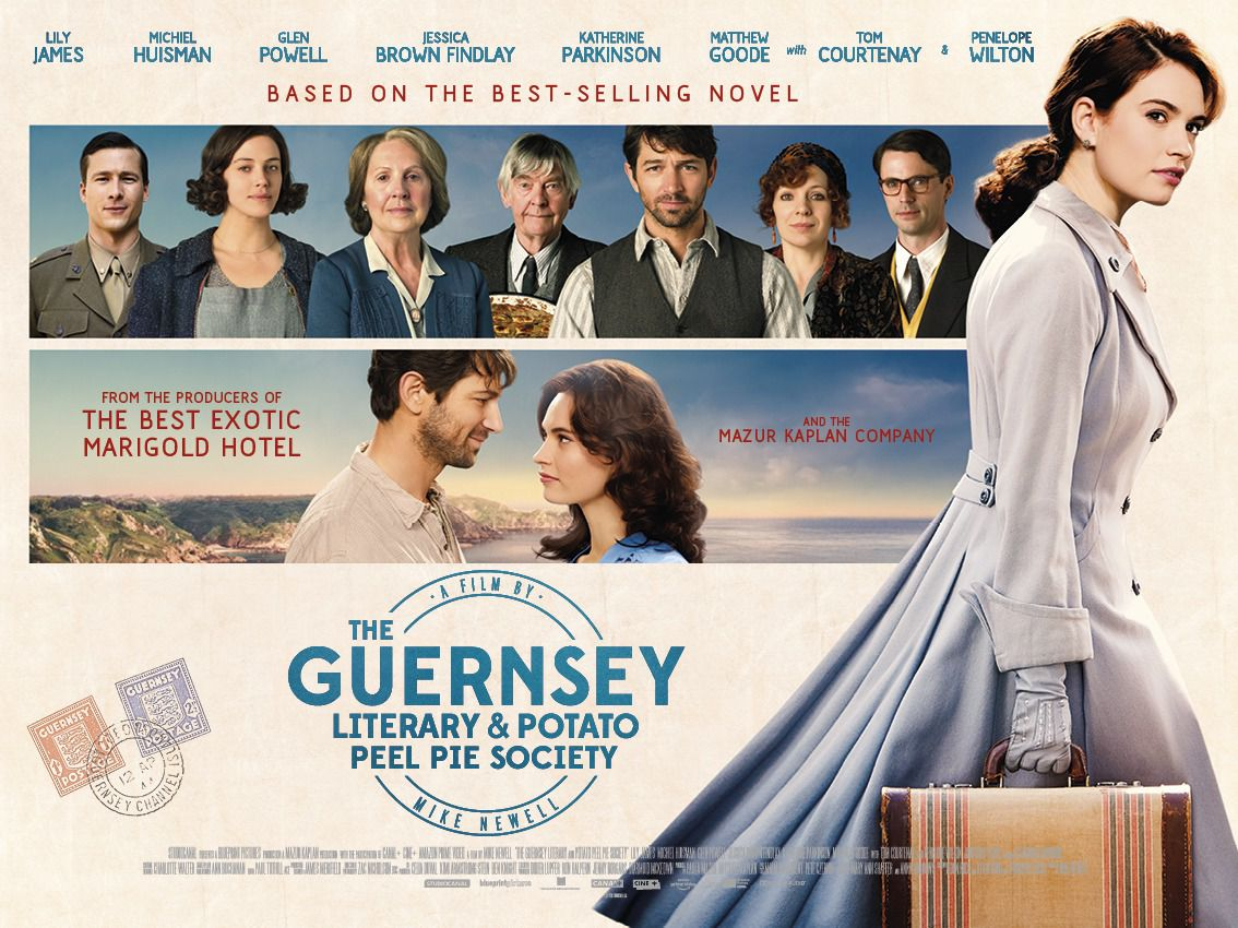 The Guernsey Literary and Potato Peel Pie Society - Cast: Lily James, Jessica Brown Findlay, Matthew Goode, Michiel Huisman - film poster