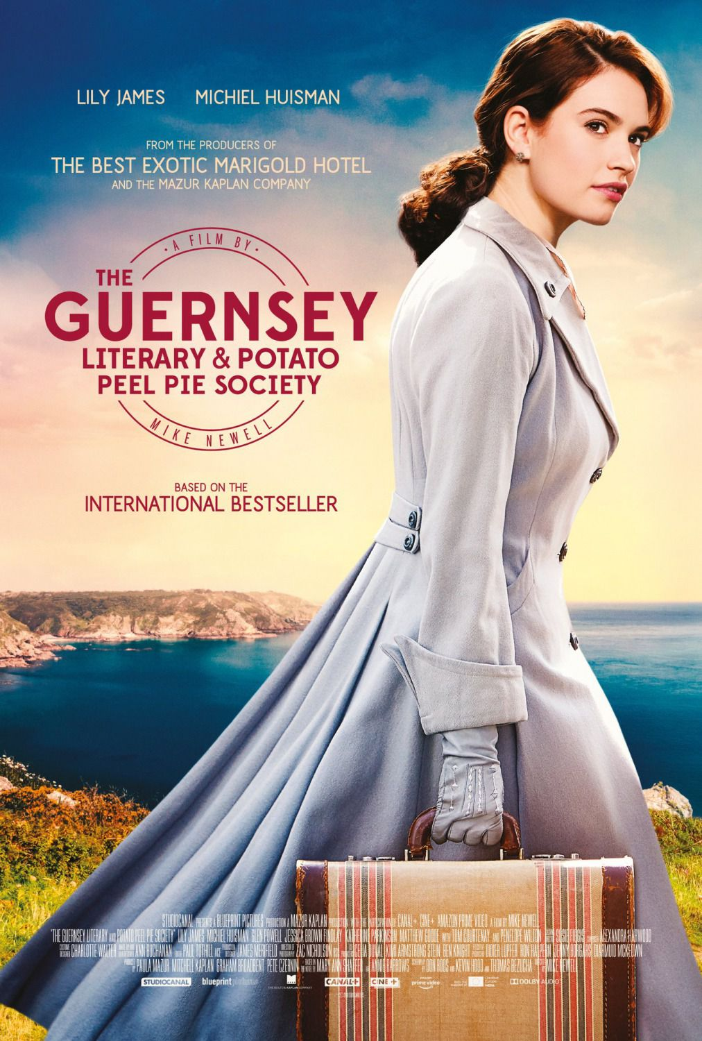 The Guernsey, Literary and Potato Peel Pie Society - Cast: Lily James, Michiel Huisman - film poster 2018