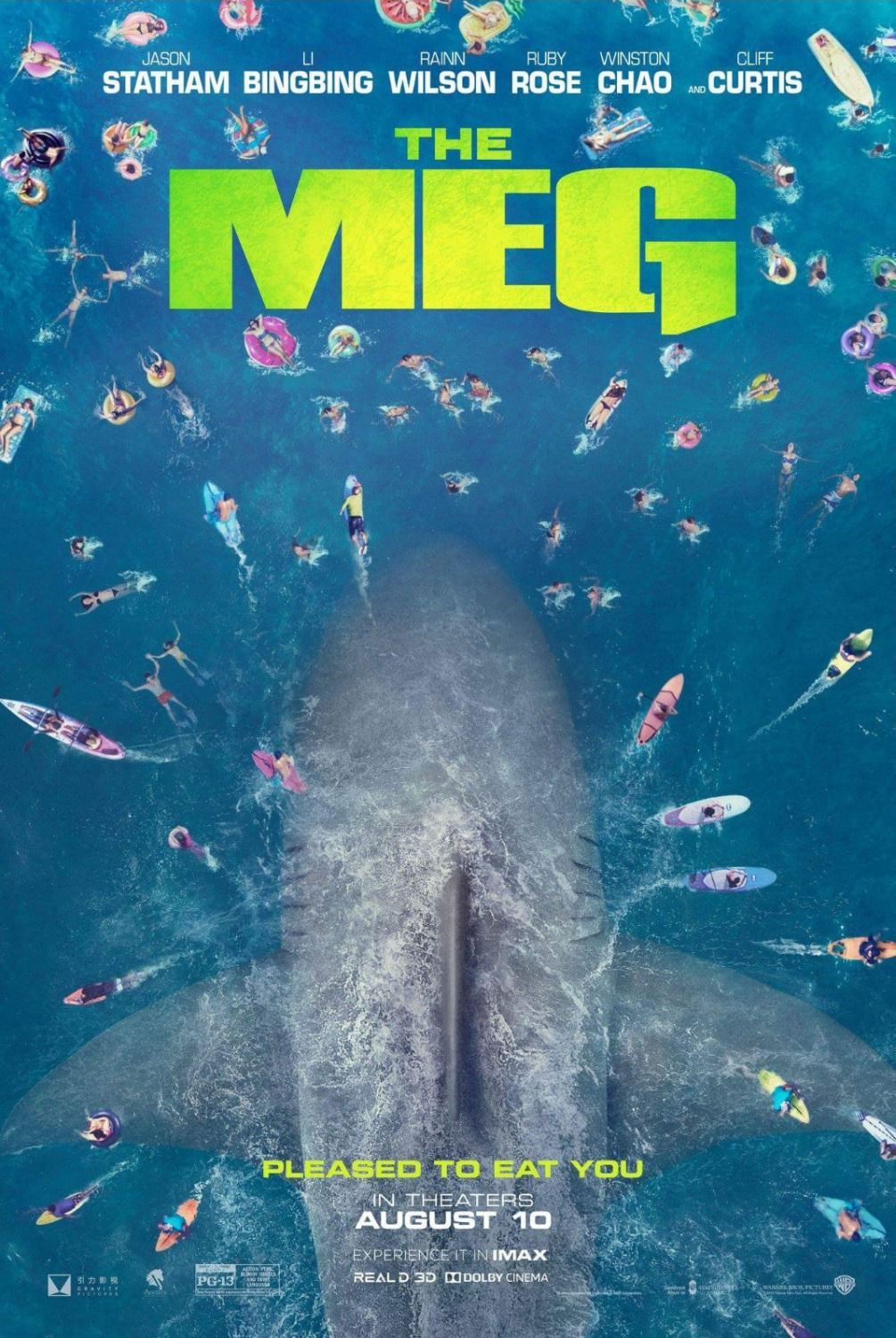 The Meg - chomp on this - Cast: Jason Statham, Ruby Rose, Jessica McNamee, Robert Taylor - shark megalodont horror film poster 2018
