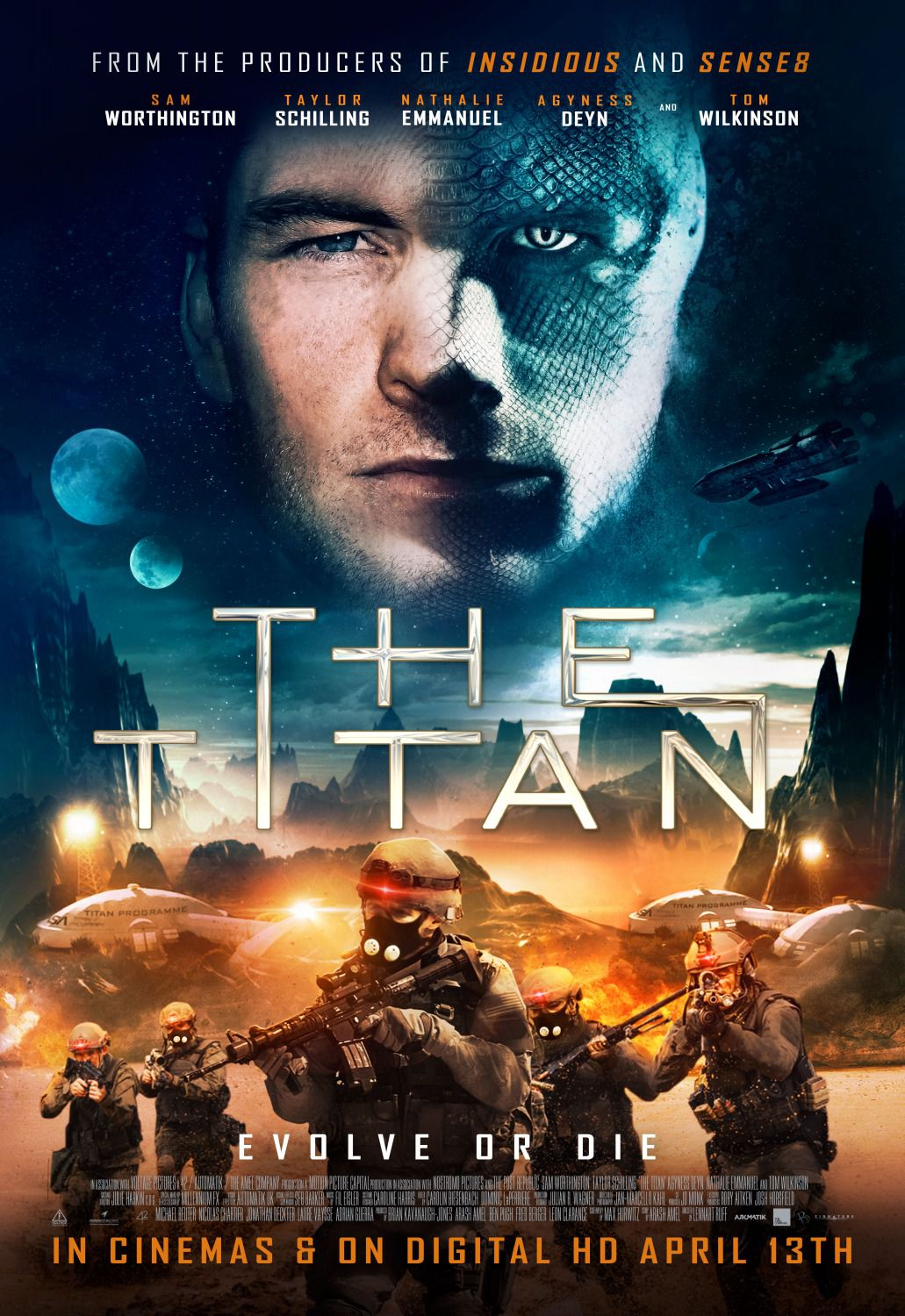 Titan - evolve or die - Sam Worthington, Taylor Schilling, Tom Wilkinson, Agyness Deyn - scifi alien poster 2018