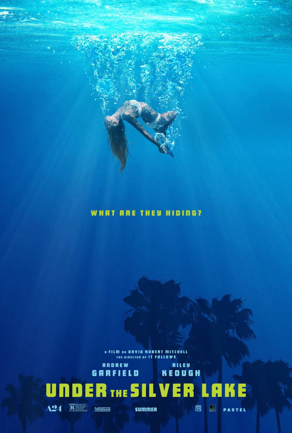 Under the Silver Lake - what are they hiding - Cast: Andrew Garfield, Riley Keough, Topher Grace, Jimmi Simpson - poster 2018
