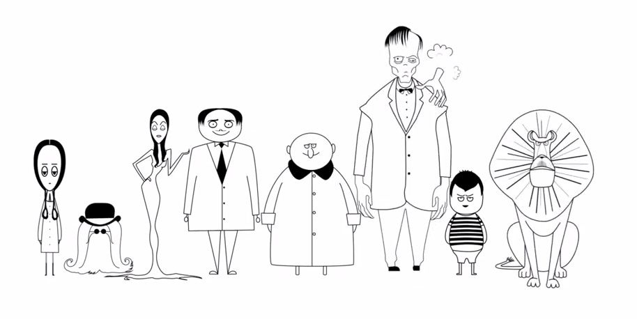 The Addams Family (animated 2019) - family draw characters cast icons chibi