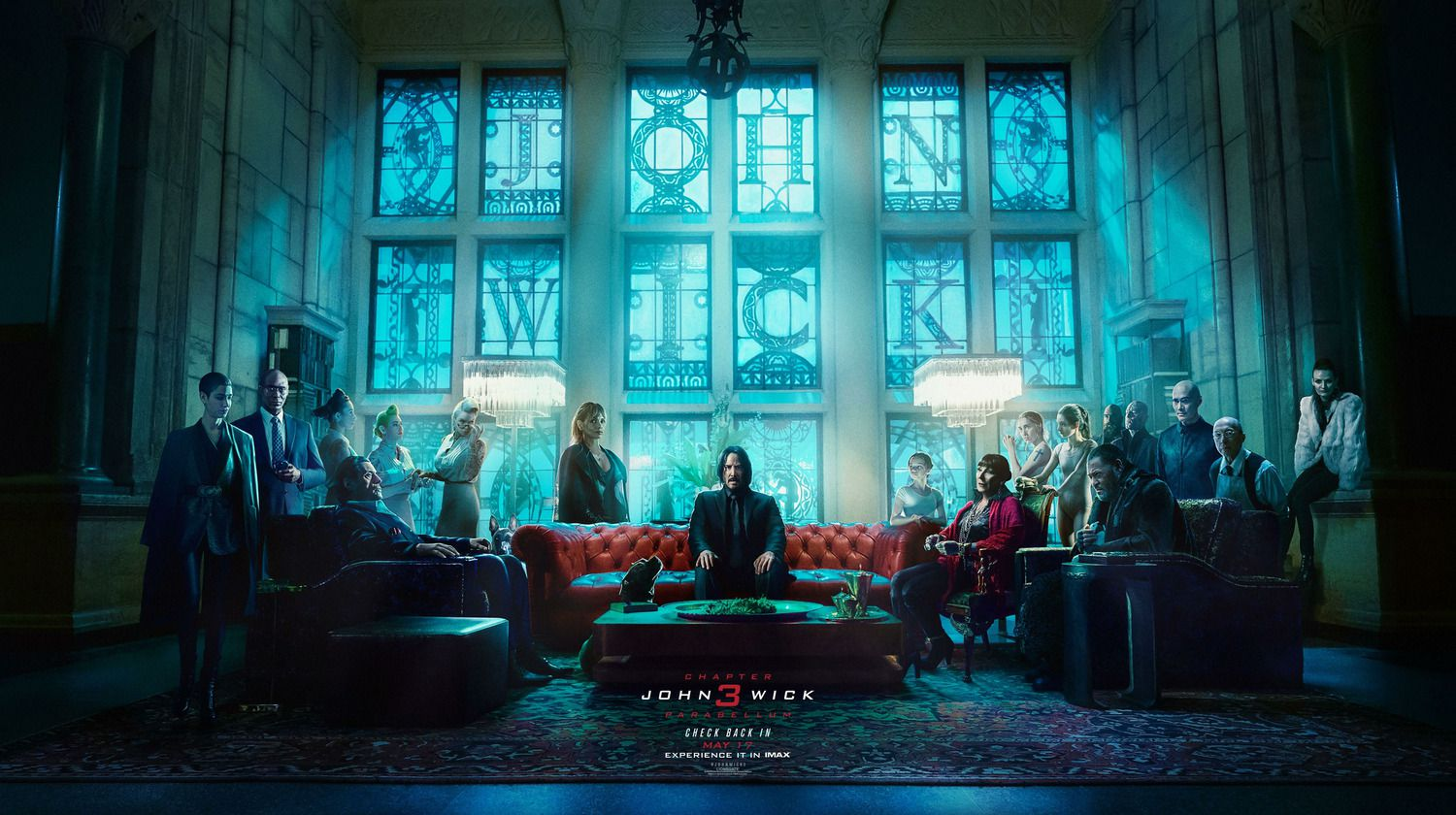 John Wick Chapter 3 - Parabellum 2019 Check back in - Keanu Reeves, Halle Berry, Ian McShane, Laurence Fishburne - Hotel Hall BANNER
