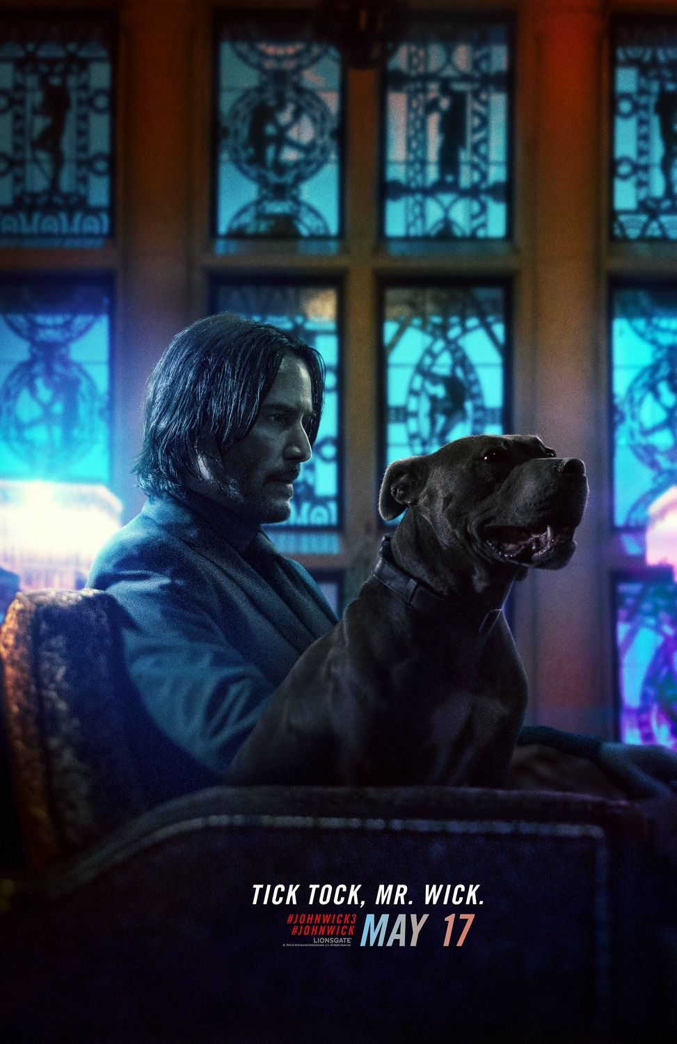 Keanu Reeves and his black dog