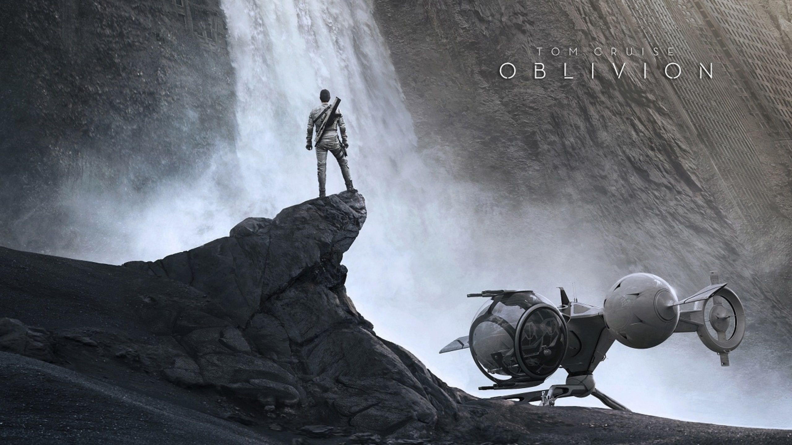 Oblivion (2013) wallpaper and poster landscape waterfall and spaceship