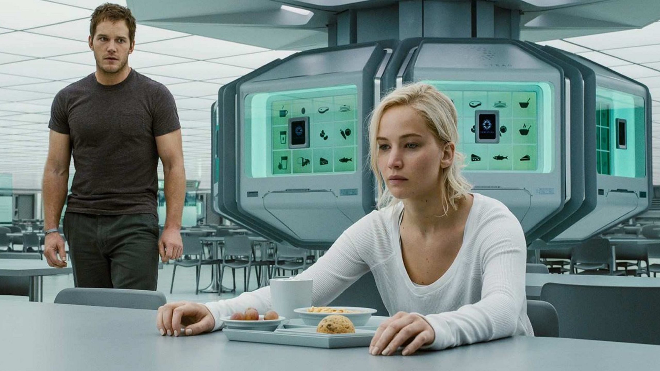 Chris Pratt & Jennifer Lawrence inside spaceship mensa room