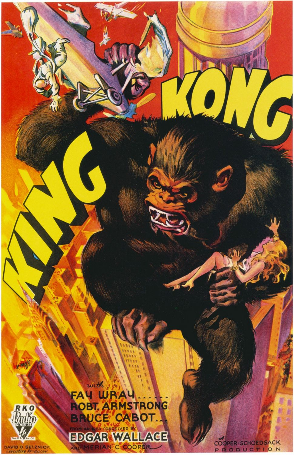 King Kong (1933) - First original sotry - Cast: Fay Wray, Robert Armstrong, Bruce Cabot, Noble Johnson - Classic Cult Film Poster
