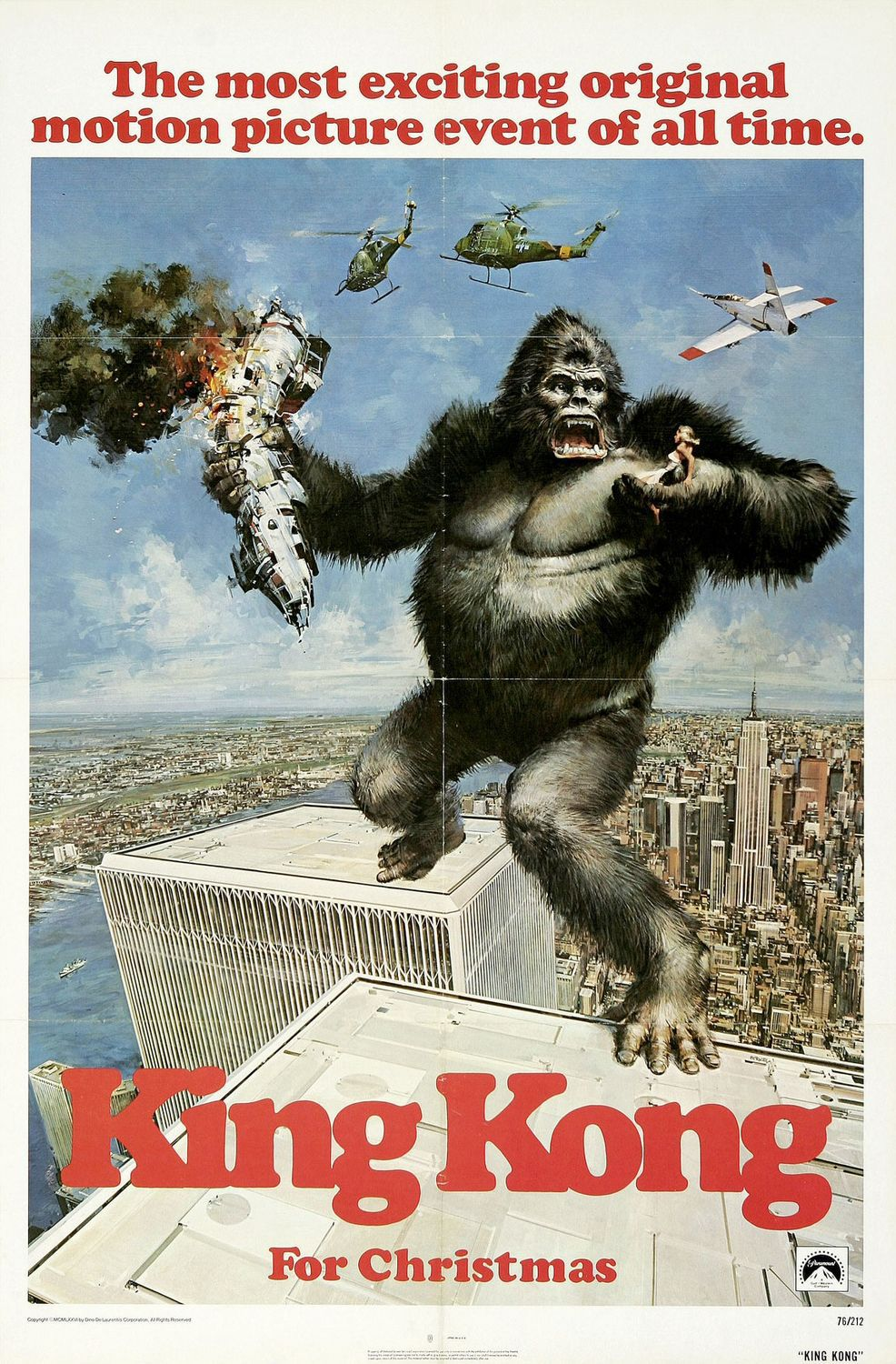King Kong (1976) - Twins Tower classic film poster