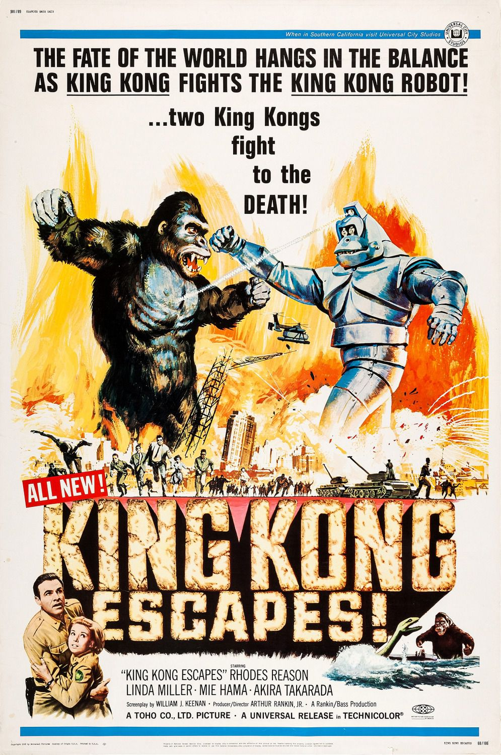King Kong Escapes - Kingu Kongu no Gyakushu (1967) - Battle with a Kong Robot - classic cult poster